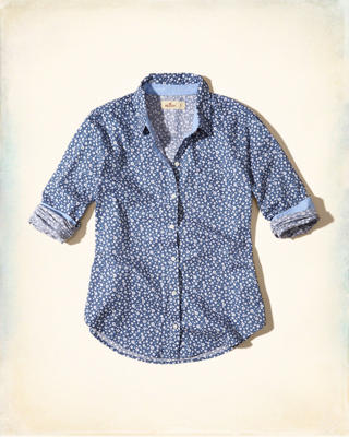 Button-Front Patterned Shirt