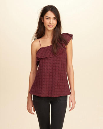 Asymmetrical Ruffle Lace Top