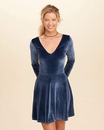 Cross-Back Velvet Skater Dress