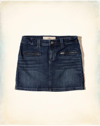 hol Low-Rise Denim Mini Skirt