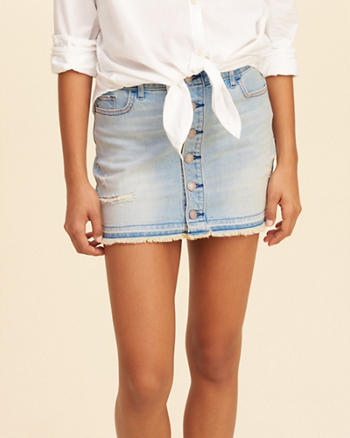 Button-Front Low-Rise Denim Mini Skirt