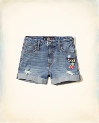 High Rise Denim Girlfriend Shorts