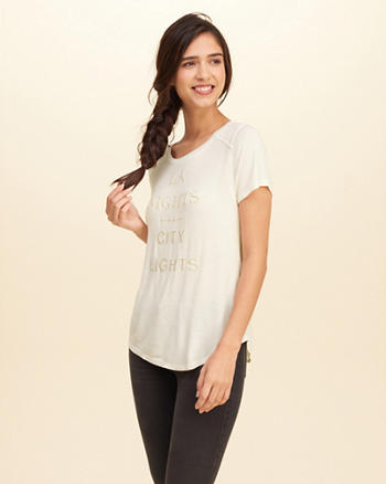 Suede Shoulder Graphic Tee