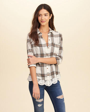 Lace Hem Plaid Shirt