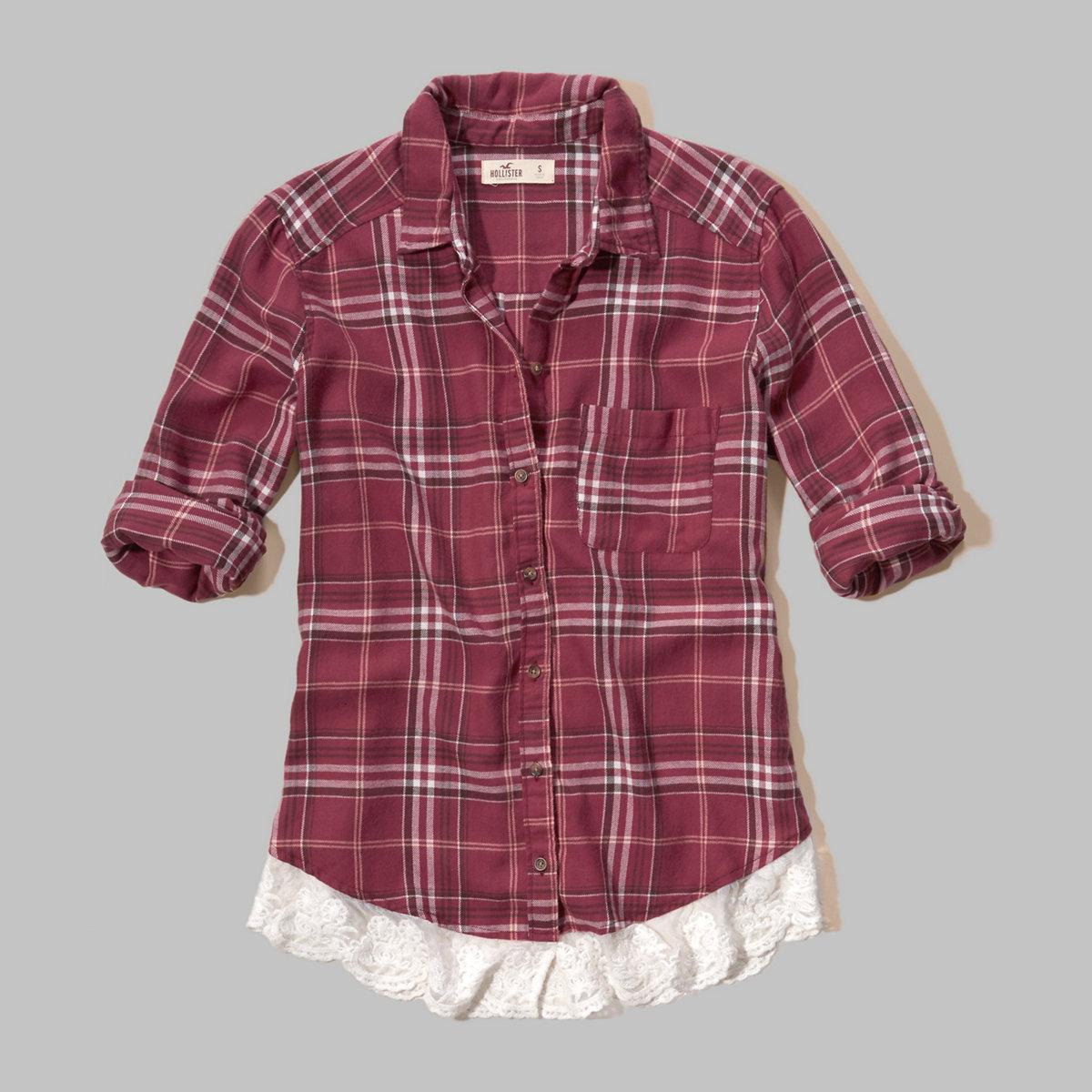 Lace Hem Plaid Shirt