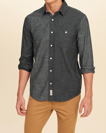 Colorblock Chambray Shirt