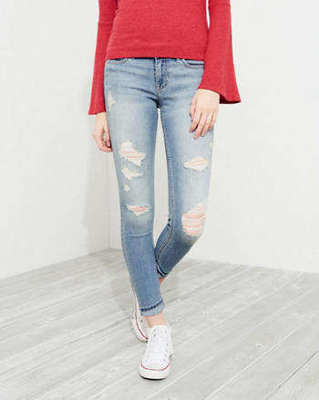 Stretch Low-Rise Crop Super Skinny Jeans