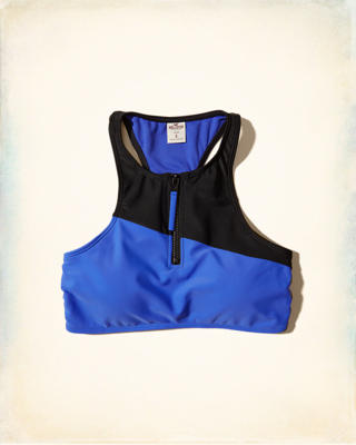 Zip-Up High-Neck Swim Top