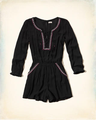 Embroidered Lace-Up Rayon Romper