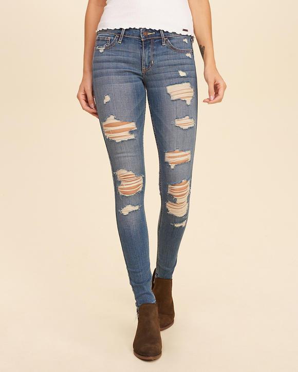 Shredded Low-Rise Super Skinny Jeans - Super Skinny Jeans For Girls Hollister Co.