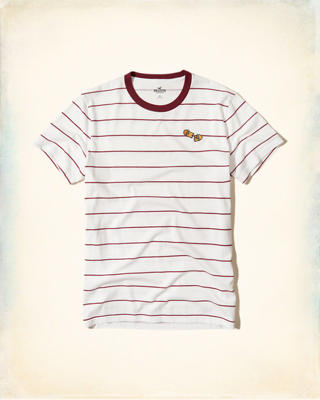 Stripe Embroidered Graphic Tee