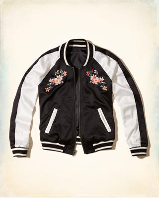 Reversible Embroidered Satin Bomber Jacket