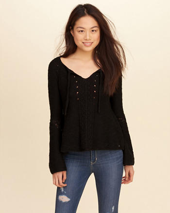 Bell-Sleeve Tie-Front Sweater