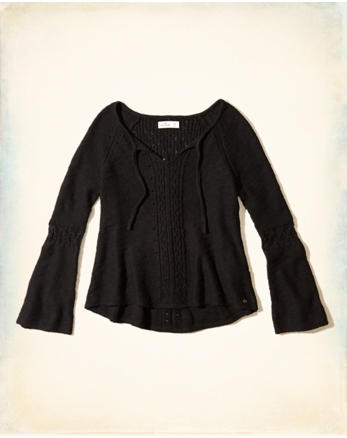 hol Bell-Sleeve Tie-Front Sweater