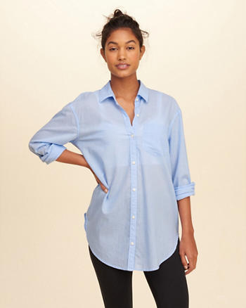 Button-Front Oversized Shirt