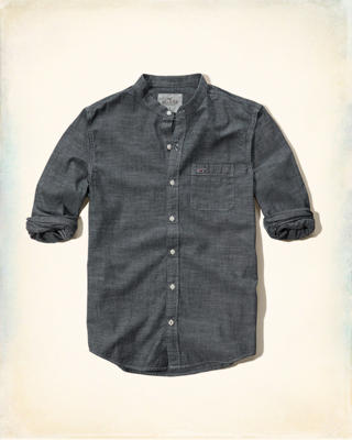 Banded Collar Chambray Shirt