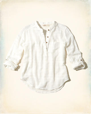 Textured Cotton Popover Shirt