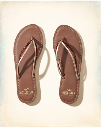 hol Vegan Leather Mixed Strap Flip Flop