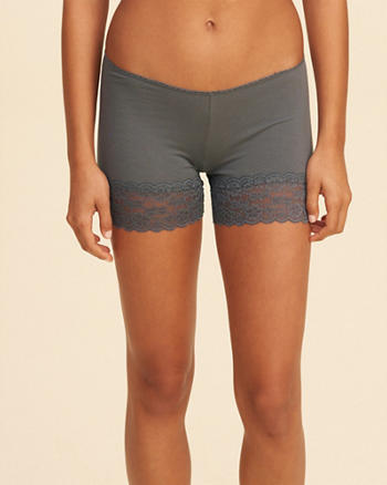 Lace-Trim Cotton Layering Short