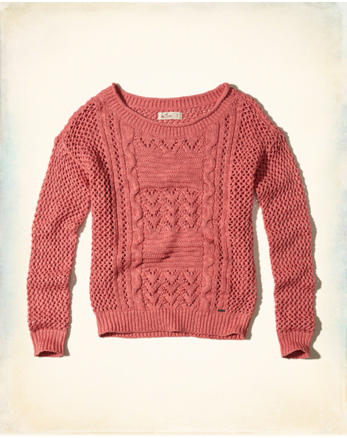 hol Slouchy Open-Stitch Pullover Sweater