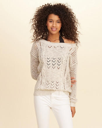 Slouchy Open-Stitch Pullover Sweater