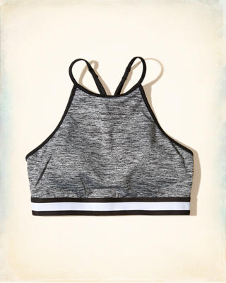 Strappy High-Neck Sports Bra