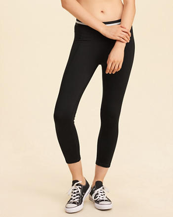 Stripe Elastic Crop Active Leggings