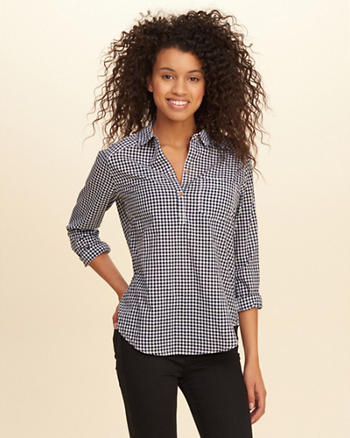 Plaid Cotton Popover Shirt
