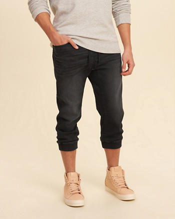 Crop Denim Jogger Pants