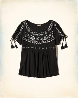 Lace-Up Sleeve Embroidered Top