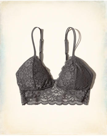 hol Lace Longline Triangle Bralette With Removable Pads