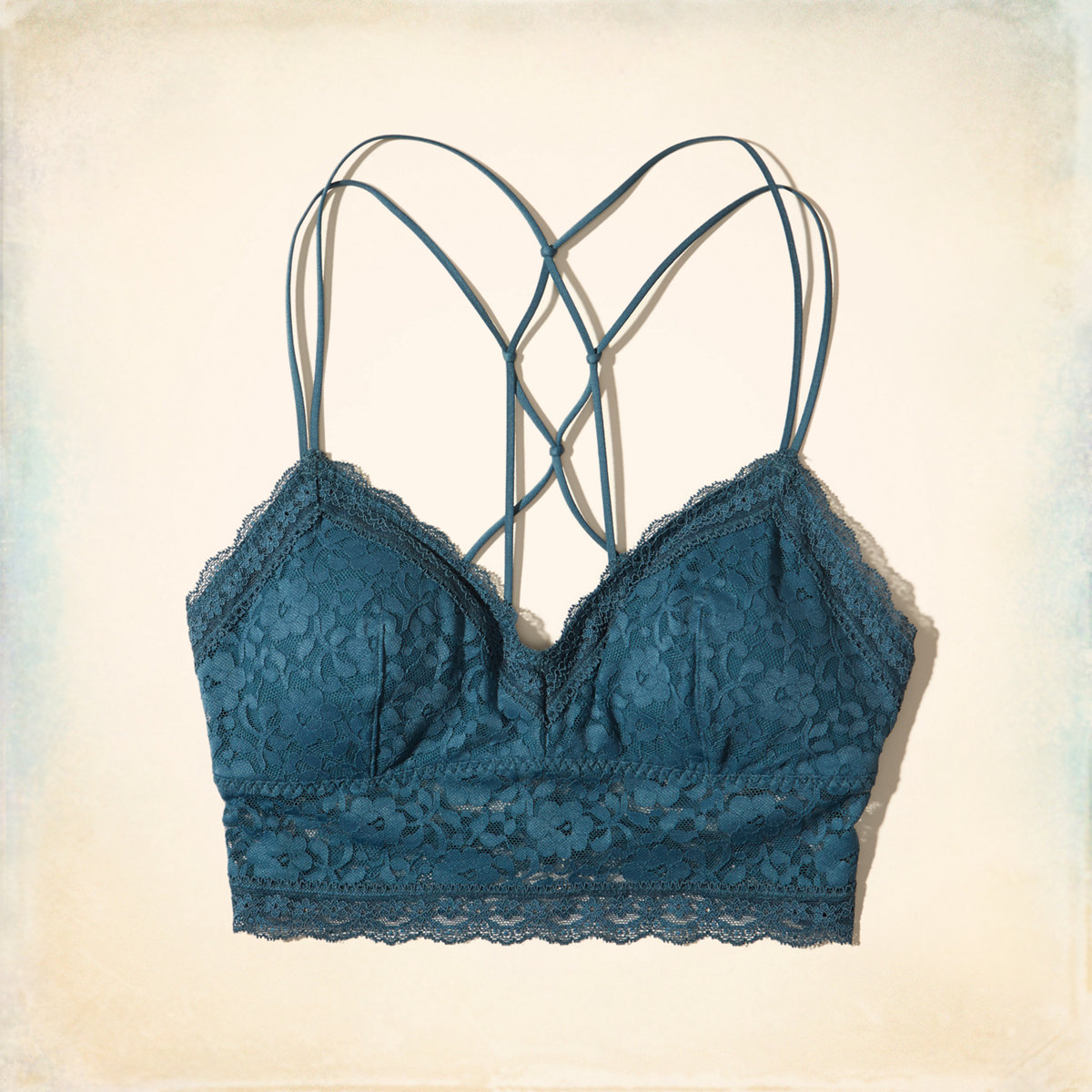 Strappy Lace Longline Bralette With Removable Pads