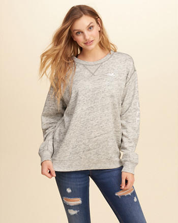 Oversized Graphic Crew Sweatshirt
