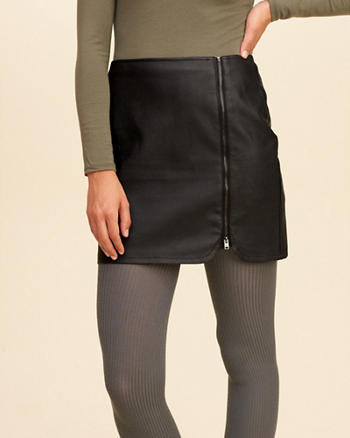 Zip-Front Vegan Leather Mini Skirt