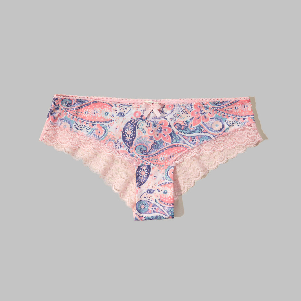 Gilly Hicks Printed Lace-Trim Cheeky