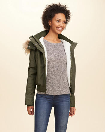 Hollister All-Weather Hooded Bomber Jacket