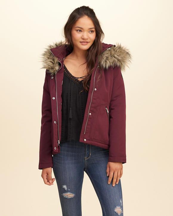 Down Jackets that Still Look Glam; Hollister burgundy