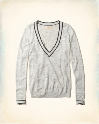 Tipped V-Neck Icon Sweater