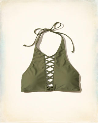Strappy Halter High-Neck Bikini Top