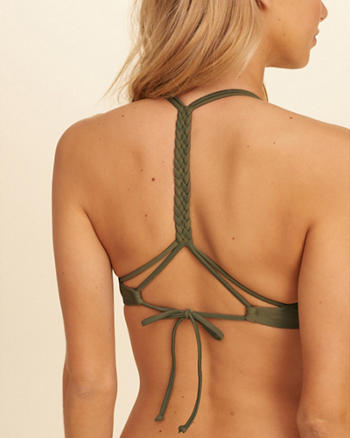 Braided T-Back Push-Up Plunge Swim Top