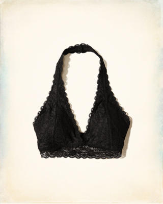 Lace Halter Bralette With Removable Pads