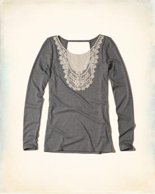 Lace Neck Ribbed Top