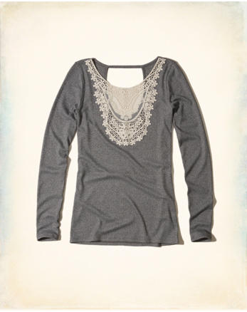 hol Lace Neck Ribbed Top