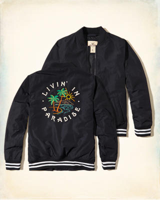 Embroidered Nylon Souvenir Bomber Jacket