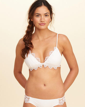Lace-Trim Triangle Bikini Top