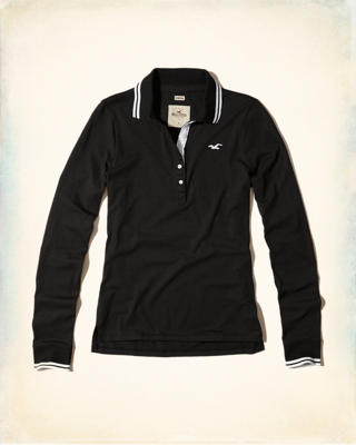 Slim Long-Sleeve Tipped Polo