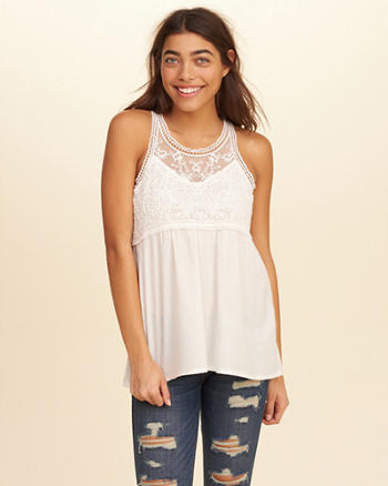 Embroidered Mesh High-Neck Tank