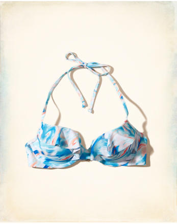 hol Ruffle Lightly Lined Plunge Bikini Top
