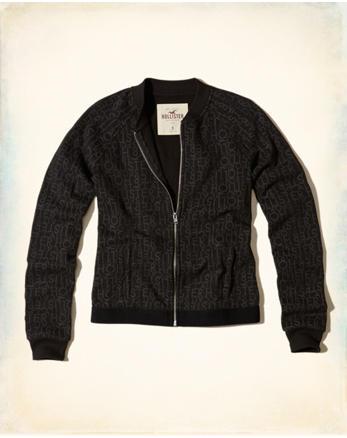 hol Logo Elastic Fleece Bomber Jacket