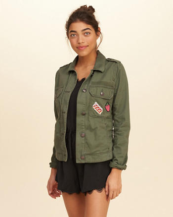 Military Patchwork Shirt Jacket